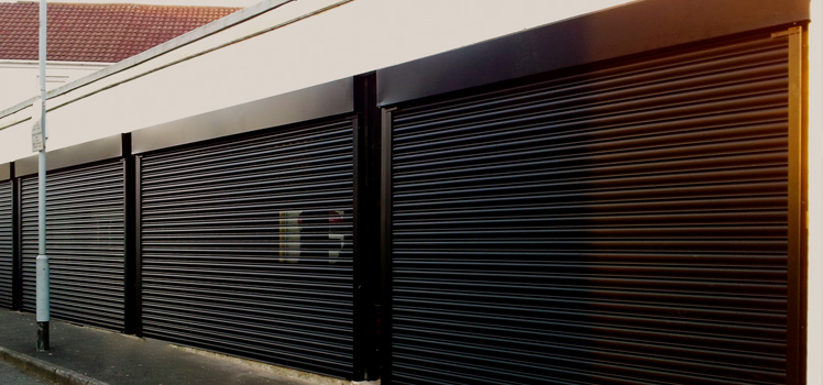 Perforated Black Security Roller Shutter