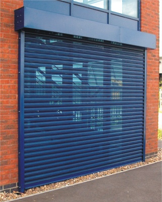 Vision Perforated Blue Security Roller Shutter